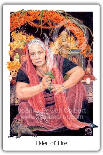 Elder of Fire card or King of Wands Gaian Tarot deck
