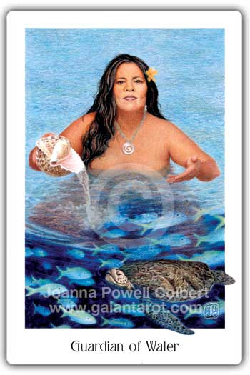 Guardian of Water card or Queen of Cups Gaian Tarot deck